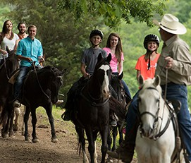 Group on a horseback ride at Five Oaks Riding Stable