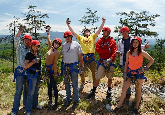 Excited group of zipliners at Legacy Mountain Ziplines